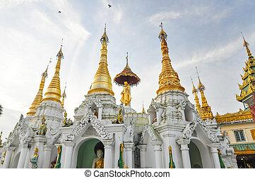 わずかしか, shwedagon, paya, yangon, ミャンマー, pagodas, のまわり