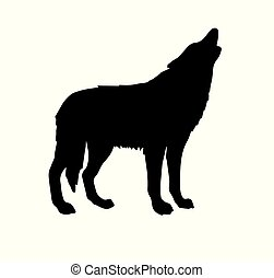 わめく, ベクトル, シルエット, 狼, 黒
