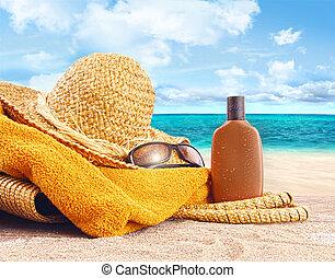 わら, ローション, 浜, 日焼け, 帽子