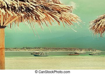 わら, island., ビーチパラソル, 砂