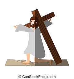 を経て, キリスト, -, 落ちる, 時間, crucis, 影, イエス・キリスト, 最初に