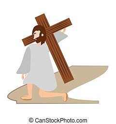 を経て, キリスト, -, 落ちる, 駅, 時間, crucis, イエス・キリスト, 最初に
