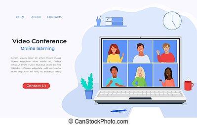 を経て, テレコンファレンス, class., 家, 網, 勉強しなさい, オンラインで, ビデオ会議