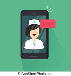 を経て, ビデオ, チャット, メッセージ, 医者, telemedicine, 相談, オンラインで, smartphone, オンラインで, 平ら, 女, 答え, 電話, 漫画, 携帯電話, リモート, 技術, イラスト, モビール, 医学, ベクトル