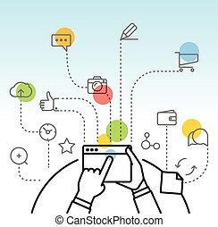を経て, 単純である, マーケティング, 現代, gadget., イラスト, 概念, デザイン, デジタル, 線