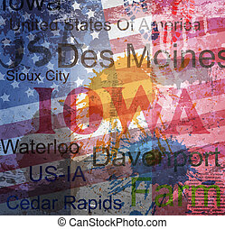 アイオワ, コラージュ, 単語, state., バックグラウンド。, グランジ
