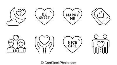 アイコン, ありなさい, 私を愛しなさい, 夜, 甘い, 女の子, 結婚しなさい, 把握, すてきである, 心, 切符, set., ベクトル, signs.