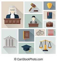 アイコン, ∥あるいは∥, 正義, 法律, セット, コレクション, ベクトル
