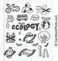 アイコン, いたずら書き, エコロジー
