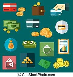 アイコン, お金, ビジネス, 平ら, 金融