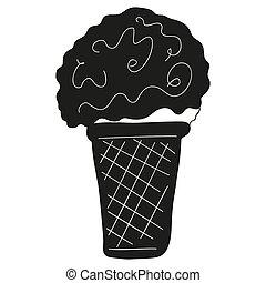 アイコン, すがすがしい, element., style., ボール, クリーム, デザート, ステッカー, cup., 黒, 甘い, 平ら, ワッフル, シロップ, 白, デザイン, 氷, ロゴ, vector.