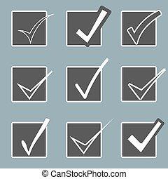 アイコン, はい, set., icon., 印, checkboxes., ベクトル, 確証しなさい, 点検