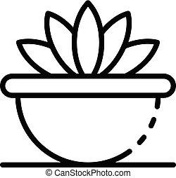 アイコン, みずみずしい, スタイル, アウトライン, houseplant