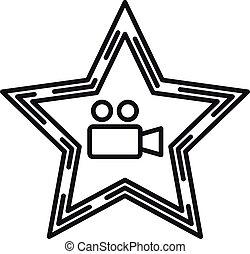 アイコン, アウトライン, カメラ, 星, スタイル, ビデオ