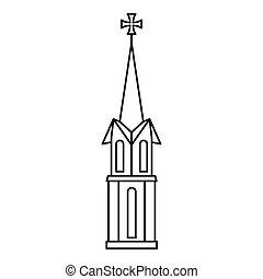 アイコン, アウトライン, 教会, スタイル