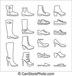 アイコン, アウトライン, 靴