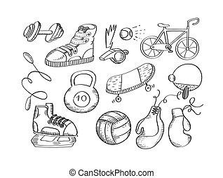 アイコン, イラスト, 手, 装置, ベクトル, 引かれる, スポーツ