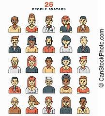 アイコン, イラスト, avatars, セット, ベクトル, 平ら