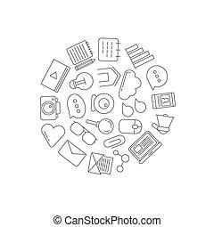 アイコン, イラスト, blog, 形, ベクトル, 線, 円