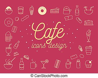 アイコン, カフェ, set., イラスト, ベクトル, デザイン