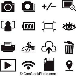 アイコン, カメラ, シンボル, イラスト, ベクトル, モード