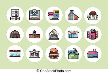 アイコン, カラフルである, 建物, セット, eps10