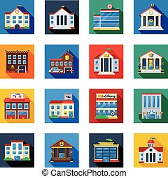 アイコン, カラフルである, 正方形, 政府の建物