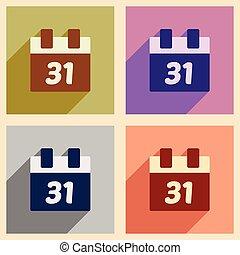 アイコン, カレンダー, セット, クリスマス, 影, 平ら, 長い間