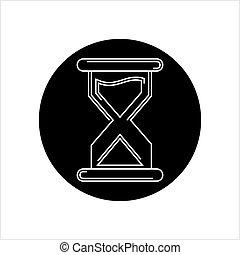 アイコン, ガラス, 時間, 砂時計