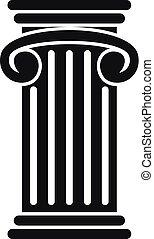アイコン, ギリシャ語, 柱, スタイル, 単純である