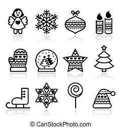 アイコン, -, クリスマス, ストローク, クリスマス