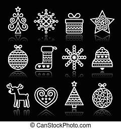 アイコン, クリスマス, ストローク, 白