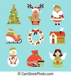 アイコン, クリスマス, セット