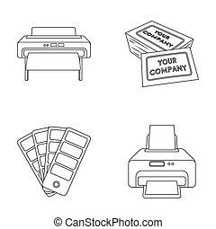 アイコン, クレジット, 色, スタイル, 株, シンボル, プリンター, web., ビットマップ, イラスト, カード, アウトライン, palette., セット, コレクション, 活版印刷, raster