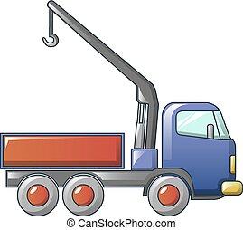 アイコン, クレーン, トラック, スタイル, 漫画