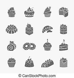アイコン, ケーキ, セット