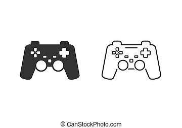 アイコン, ゲーム, set., コントローラー, 線, ベクトル, イラスト