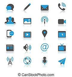 アイコン, コミュニケーション, 媒体, 反射, 平ら