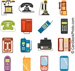 アイコン, コミュニケーション, 連絡, 呼出し, 電話, 装置