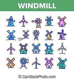 アイコン, コレクション, ベクトル, 風車, 建物, セット