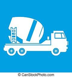アイコン, コンクリート, 白, トラック, ミキサー