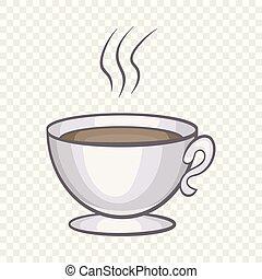 アイコン, コーヒー, スタイル, 漫画, カップ