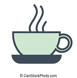 アイコン, コーヒー, 朝食, カフェ, 隔離された, カップ, 湯気をたてる, ホテル