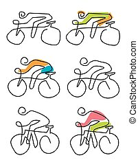 アイコン, サイクリング, lineart, 定型