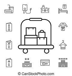 アイコン, サービス, ボーイ, ホテル, 平ら, ベクトル, スーツケース, パック