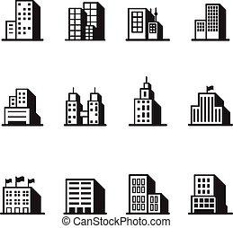 アイコン, シンボル, 建物, イラスト, ベクトル, シルエット