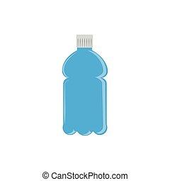 アイコン, ジュース, プラスチック, 青, びん, 平ら