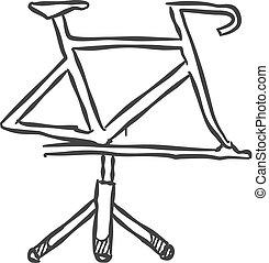 アイコン, スケッチ, 自転車, ベクトル, 立ちなさい, illustration., style.