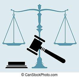 アイコン, スケール, 小槌, 裁判官, 正義