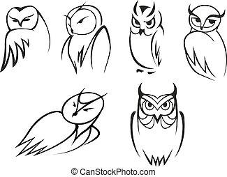 アイコン, スタイル, いたずら書き, フクロウ, アウトライン, 鳥, スケッチ